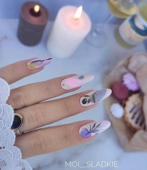 Delicate spring manicure long nails