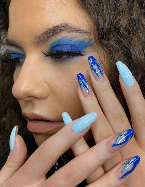 Blue with blue manicure