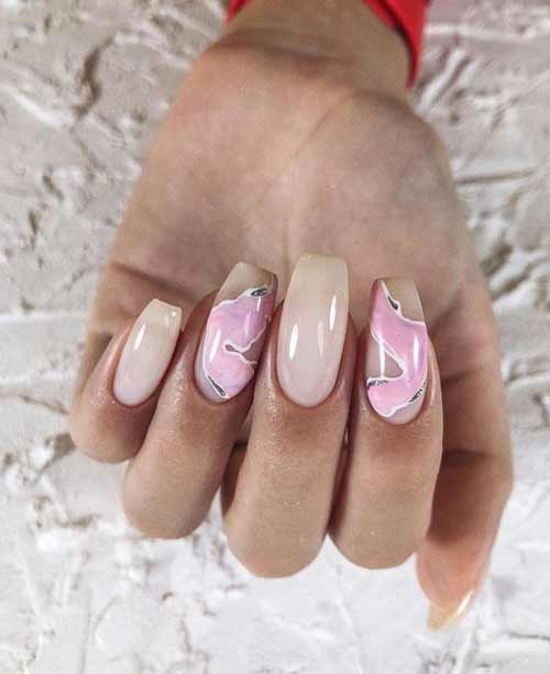 Beige and pink manicure