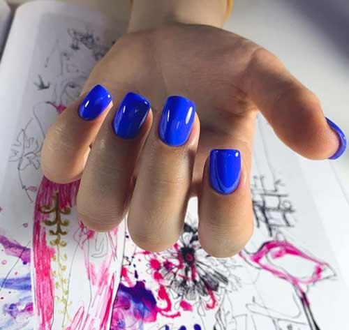 Bright blue manicure