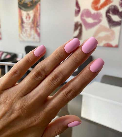 Solid pink matte manicure