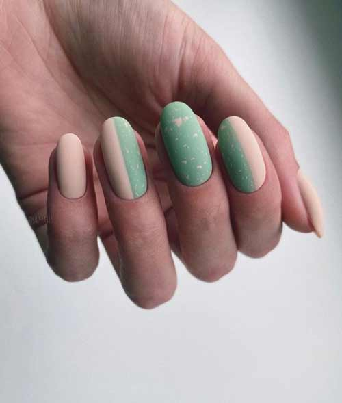 Solid color matte beige + green manicure