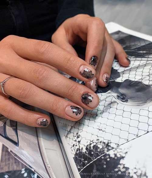 Transparent floral nail design