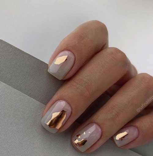 Transparent manicure with foil