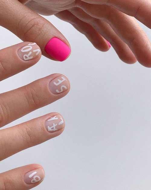Manicure texture on transparent varnish
