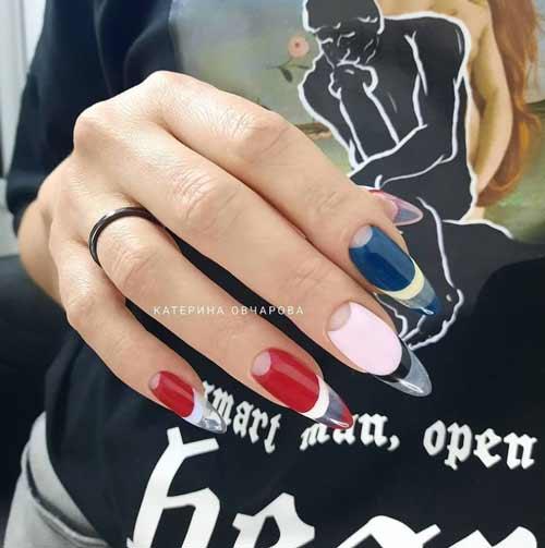 Long nails manicure negative space