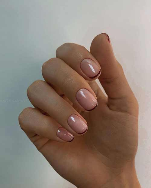Thin French manicure on a transparent base