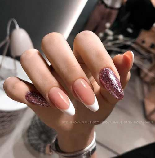 Transparent nails with colored glitters