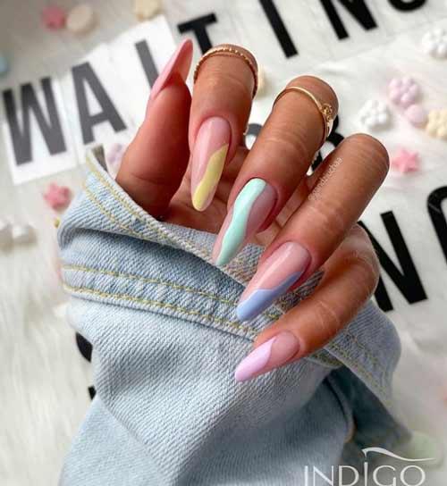 Long nails design negative space