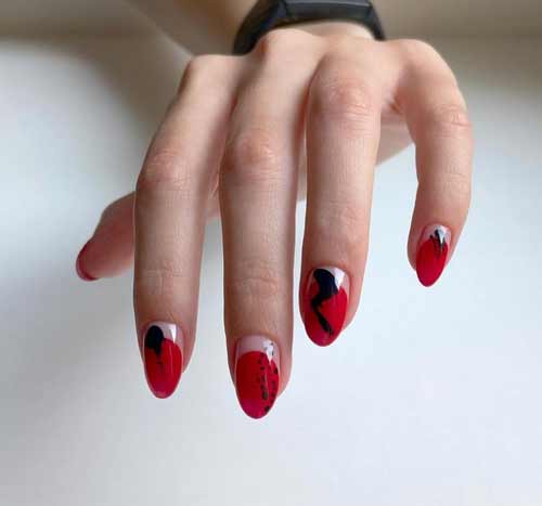Manicure with transparent holes
