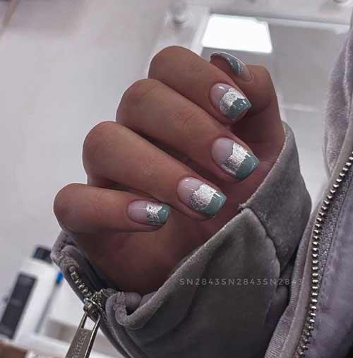 Transparent nails with foil