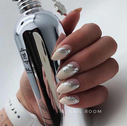 Transparent manicure for long nails