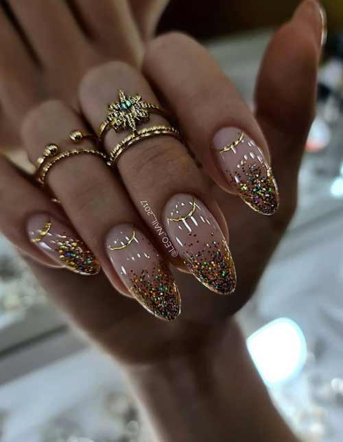 French glitter on transparent nails