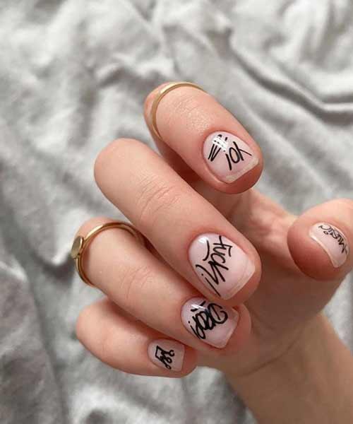 Transparent graffiti manicure