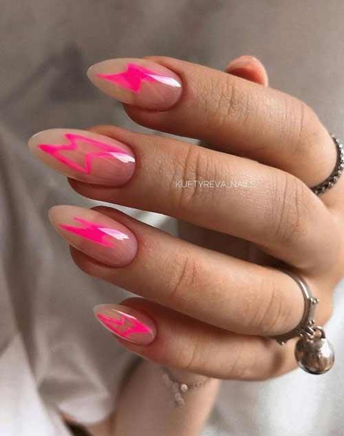 Manicure with a transparent design