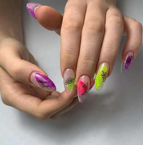 Transparent long nails