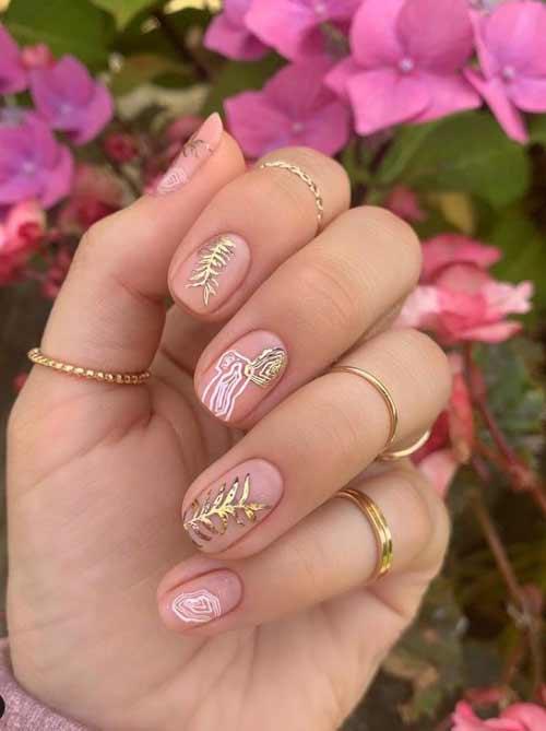 Transparent manicure with foil elements