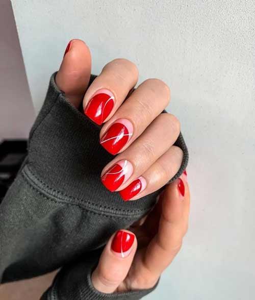 Red manicure negative space