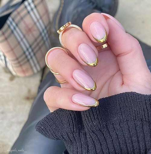 Transparent manicure with rubbing