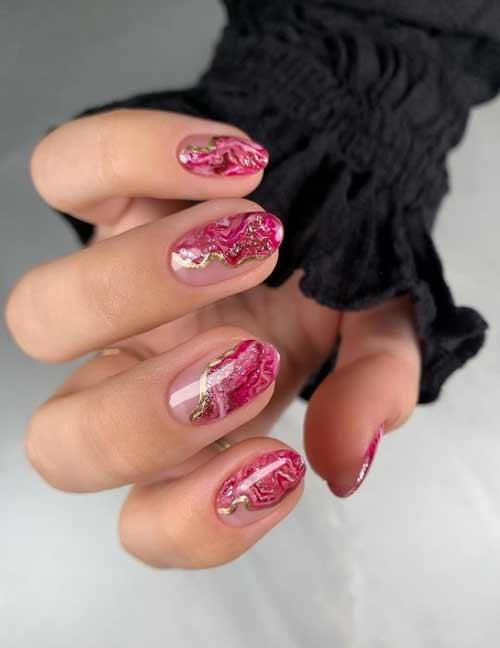 Textures on transparent nails