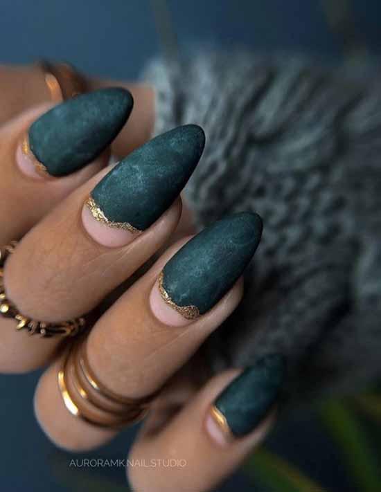 Negative-space matte nail design