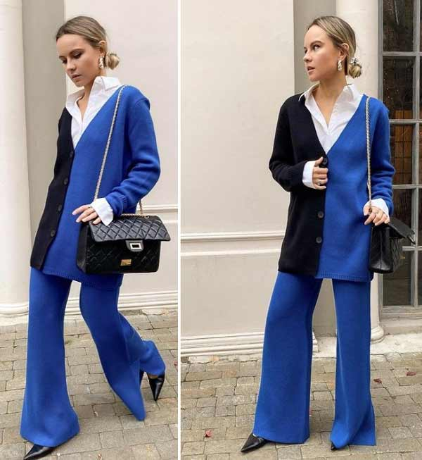 Wide leg pants with a blouse