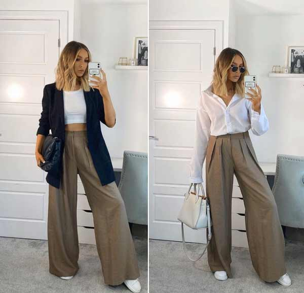 How to wear wide leg long pants