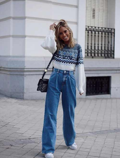 Wide leg jeans with a sweater