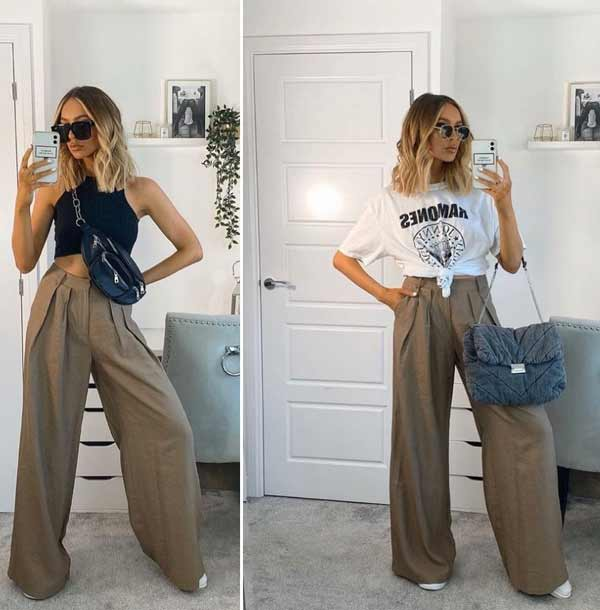 Wide-leg trousers with a T-shirt and a top