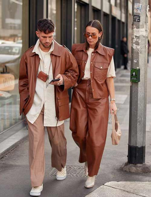Leather brown trousers