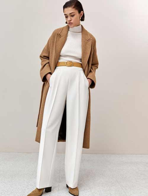 White wide leg dress pants