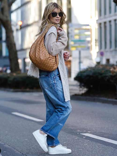 Look with wide jeans