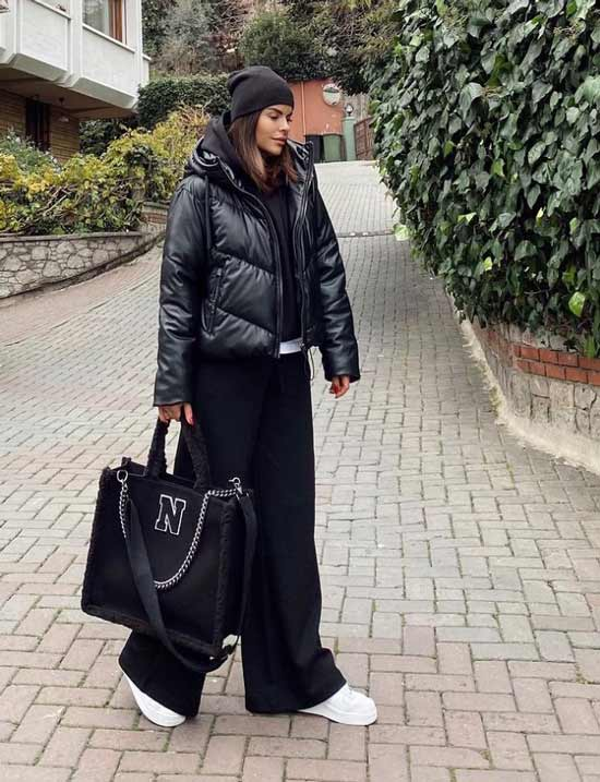 Look with black wide leg pants