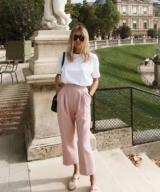Summer look with wide leg pants