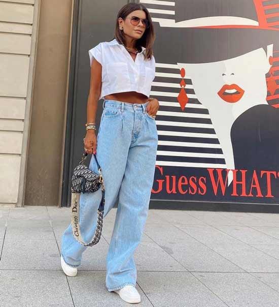 Wide blue jeans