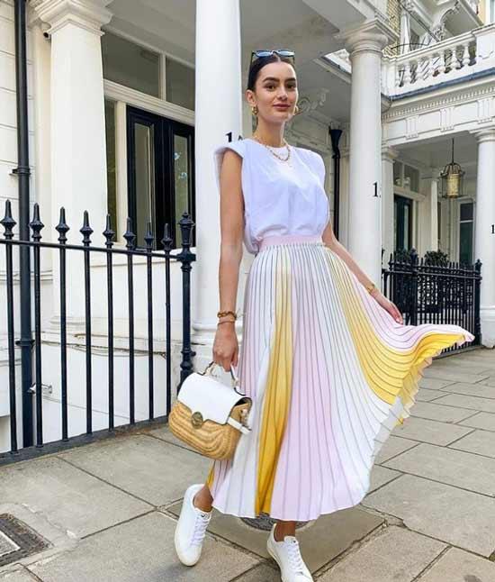 Summer pleated skirts