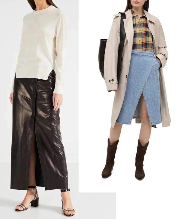 Leather and denim fashionable wrap skirt