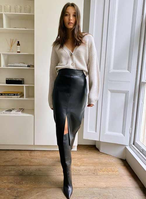 Fashionable skirt with a slit