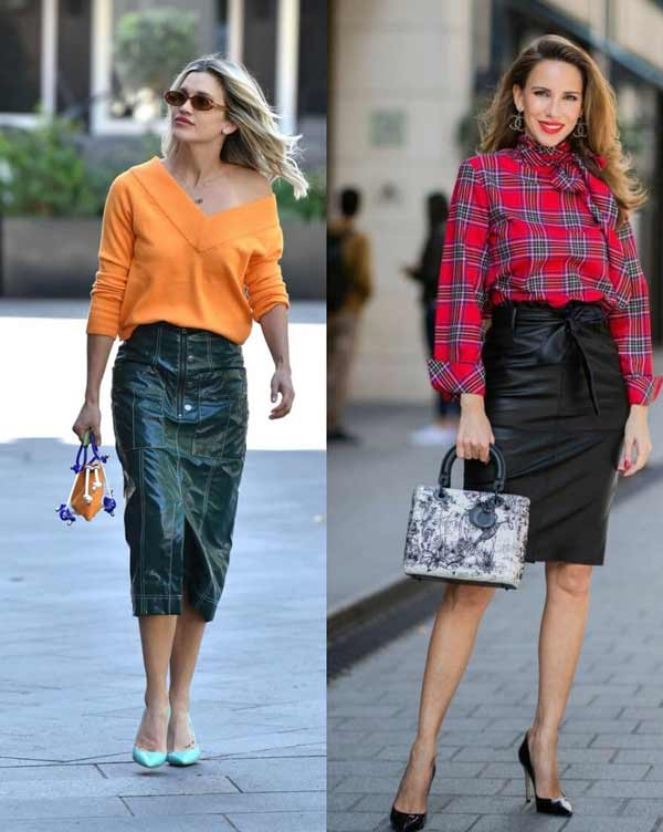 Fashionable leather skirts spring-summer