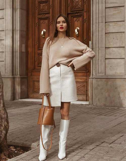 Fashionable white mini skirt