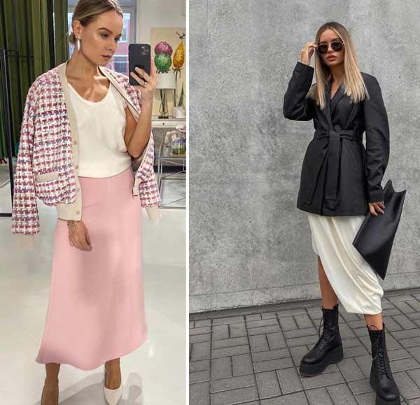 Fashionable satin skirts spring-summer