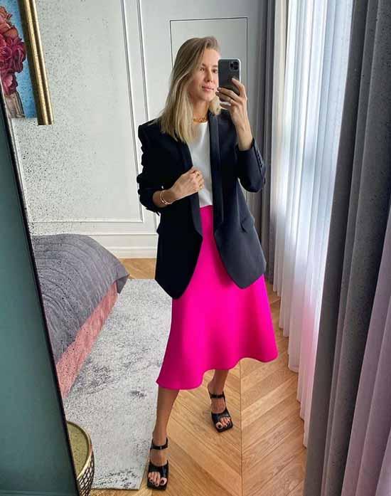 Bright fuchsia skirt