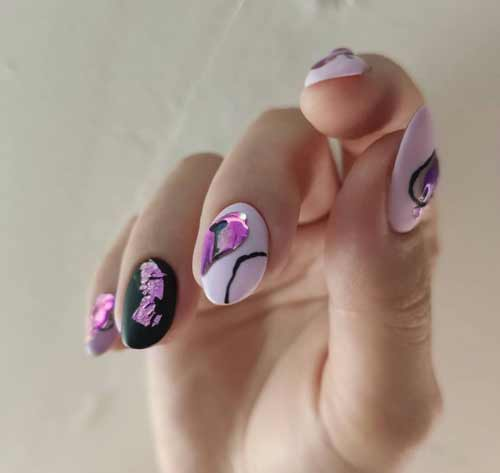 Matte pastel manicure with decor