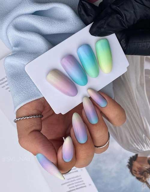 Gradient pastel manicure