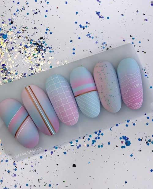 Fashionable drawings on the cover of pastel nails