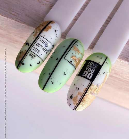 Pastel mint and potal nails