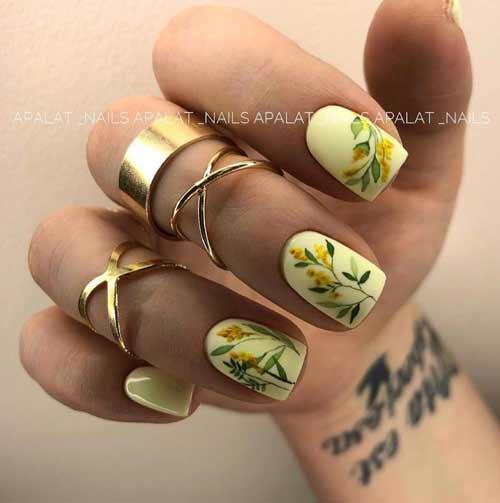 Light yellow manicure