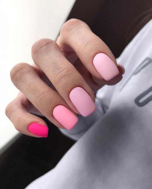 Matte manicure in pastel colors