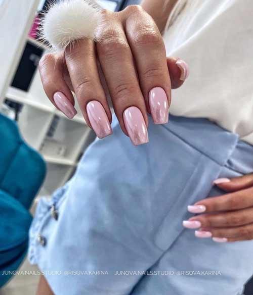 Lilac manicure with rub