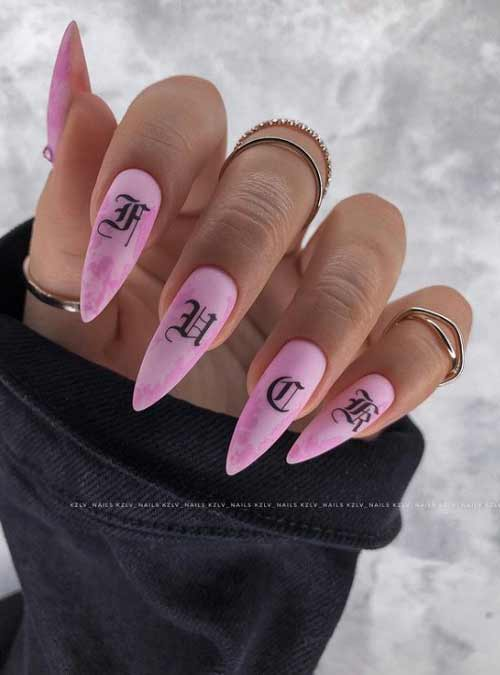Pastel manicure long nails
